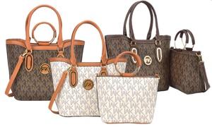 WK Collection Milan Signatures Handbag and Crossbody Purse Set