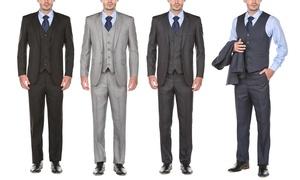 Gino Vitale Men's Modern-Fit Sharkskin Suit (3-Piece)