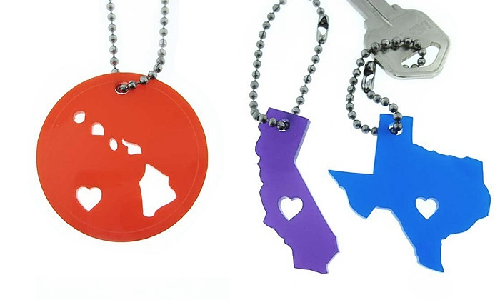 JC Jewelry Design: Acrylic State Love Key Chain or Necklace, or Bamboo State Love Necklace from JC Jewelry Design (Up to 74% Off)