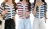 Striped Mid Sleeve Lightweight Cardigan Top