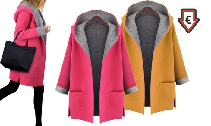 Manteau avec capuche pour femme en coton mélangé jaune ou rose, tailles au choix, à 29,90 € (63% de réduction)