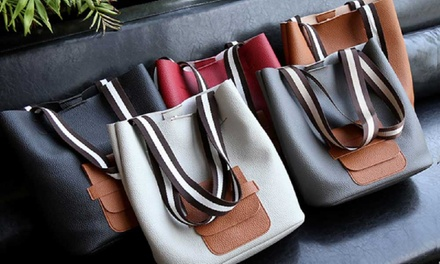 Two Piece Stripe Handle Bag Set