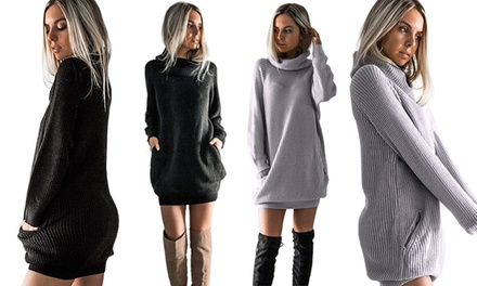Turtleneck Knitted Mini Dress: One $19 or Two $29