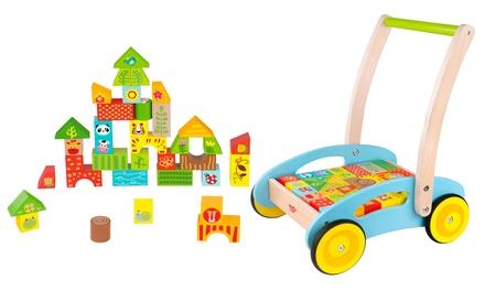 Andador de madera para bebés con 35 bloques de construcción