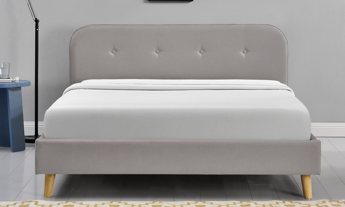 Woburn fabric bed frame groupon for Bed frame and mattress deals