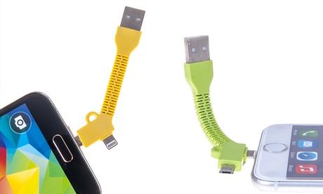 Cable de datos 2 en 1 con conexión microUSB y Lightning