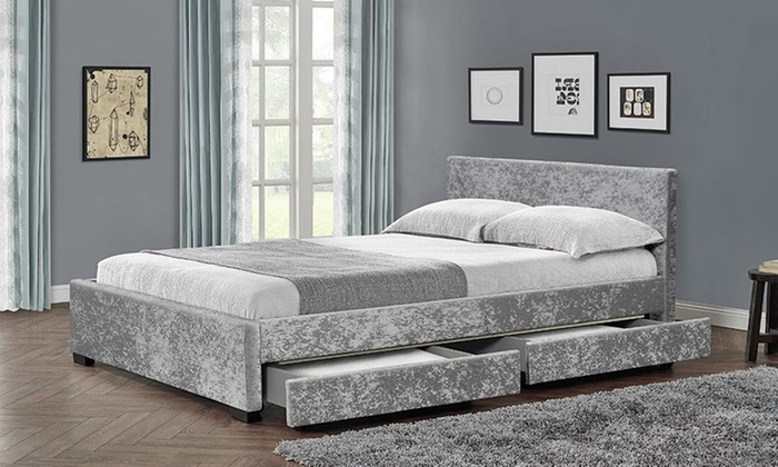Comet velvet bed frame groupon for Bed frame and mattress deals