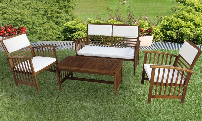 Set salottino in legno e cuscini groupon for Salottini giardino offerte