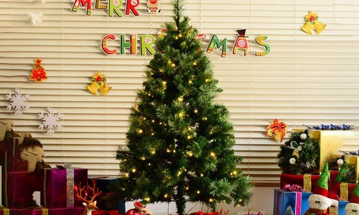 09f3fe9c85e6 HomCom Pre-Lit Christmas Tree | Groupon