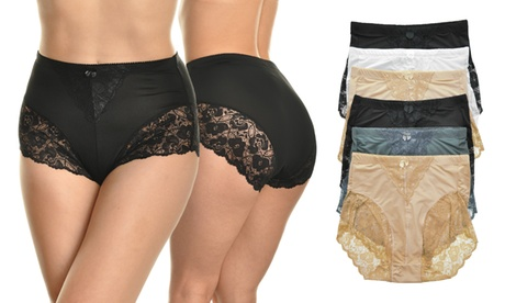 Angelina High-Waist Light-Control Lace-Decorated Briefs (6-Pack)