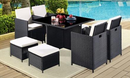 Salottino da giardino in rattan con tavolino sedie e sgabelli
