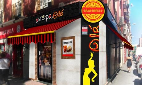 Menú de arepa para 2 o 4 con entrante, arepa, postre y bebida Arepa Olé - Bravo Murillo (hasta 45% de descuento)