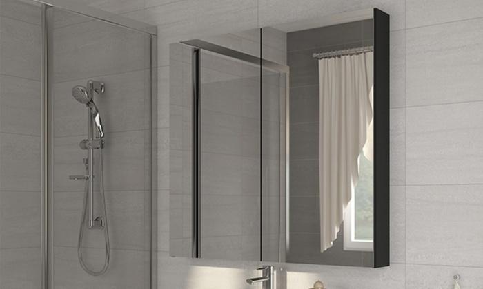 Cabinet avec miroir salle de bain groupon for Cabinet salle de bain