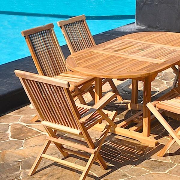 Salon de jardin Teck brut/huilé avec table, chaises pliantes et fauteuils  dès 249,90€ (livraison offerte), jusqu'à -62%