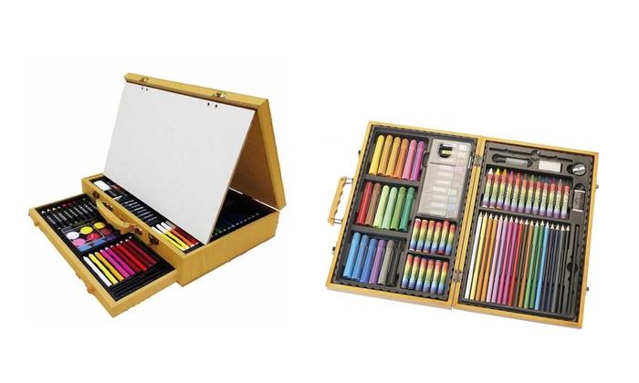 Groupon Goods Global GmbH: Set da 77 o 112 pezzi per disegnare o pitturare Akor con scatola in legno
