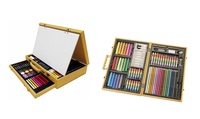 77-Piece or 112-Piece Art Drawing and Painting Wood Case
