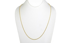 14K Solid Gold Diamond Cut Rope Chain Necklace