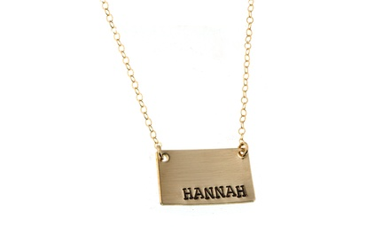 Hannah Design 14K Gold Rectangle Name Plate Necklace
