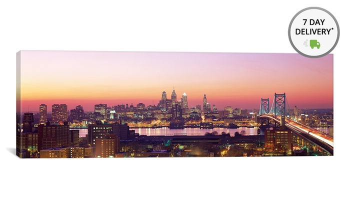 "36""x12"" Panoramic City Skyline on Gallery-Wrapped Canvas: 36""x12"" Panoramic City Skyline Print on Gallery-Wrapped Canvas. Multiple Options Available. Free Shipping and Returns."