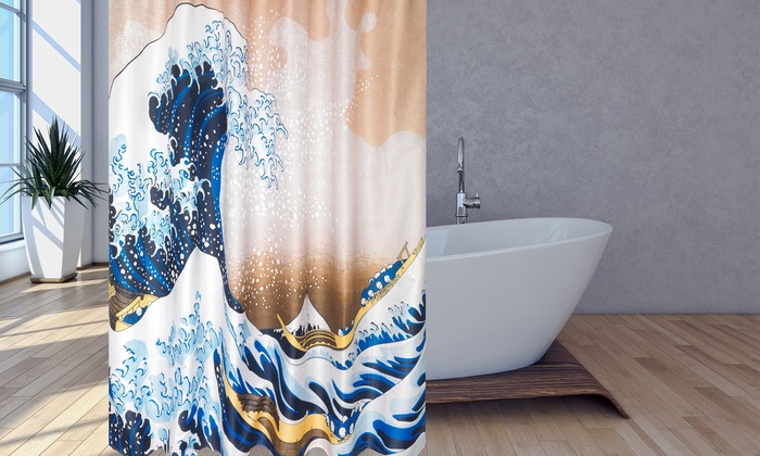 The Great Wave Museum Inspired Shower Curtain