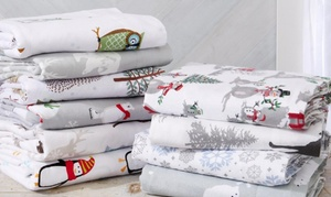 100% Turkish Cotton Printed Flannel Sheet Set