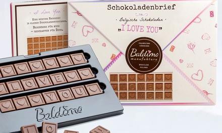 Romantischer Schokoladenbrief mit Kork-Weltkarte