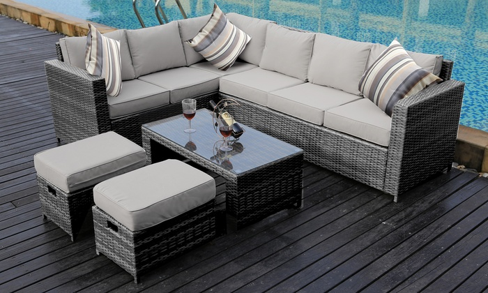 groupon goods global gmbh rattan effect garden eight seater corner sofa set