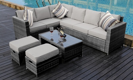 Rattan effect garden sofa set groupon for Gardening 4 less groupon