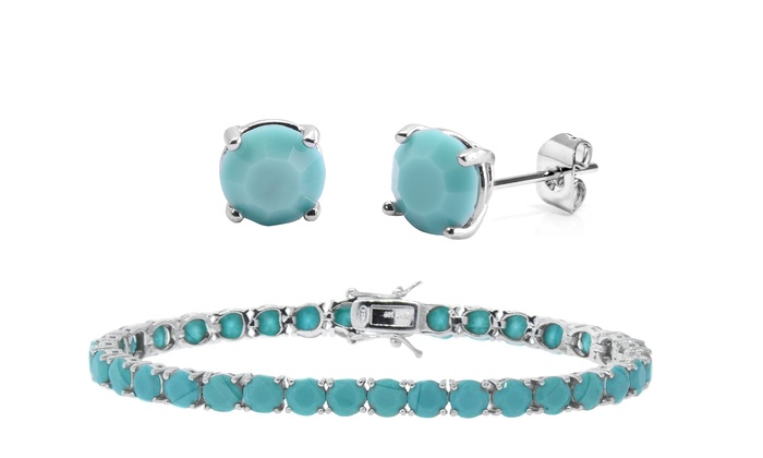 deals genuine goods gs up gg earrings solid turquoise latest stud ball groupon on gold to in off solidgold