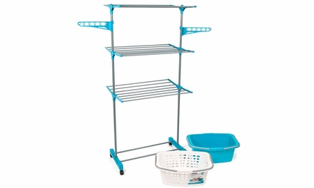 Clothes Airer and Basket Set