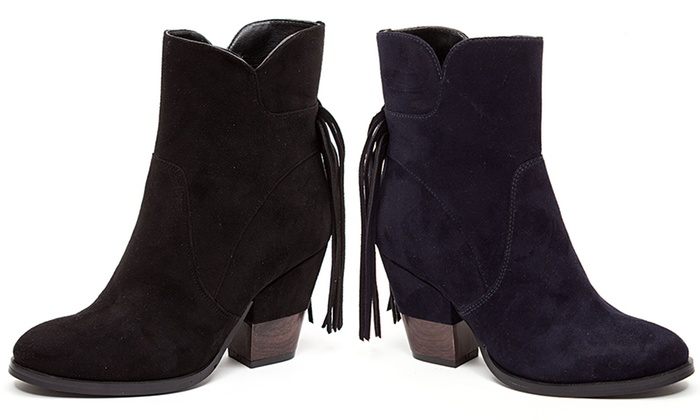 French Blu Women's Suede Ankle Boots with Fringe