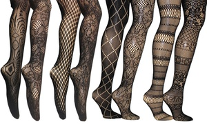 Assorted Pattern Fishnet Tights in Regular and Plus Sizes (6-Pack)