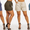 Women's High-Waisted Linen-Blend Shorts with Pockets
