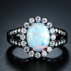 6.00 CTTW White Fire Opal Flower Ring in Jet Black Rhodium Plating