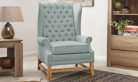 High Back Buttoned Wing Chair in Choice of Colour With Free Delivery