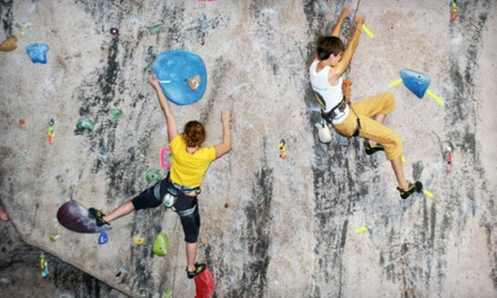 MetroRock - Multiple Locations: 10 Visits, One-Month Membership, or Two-Hour Rock-Climbing Challenge Course for Two at MetroRock (Up to 68% Off)