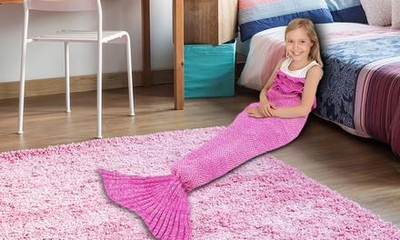 1x oder 2x Decke in Form von Seejungfer-Schwanz für Kinder in der Farbe nach Wahl
