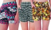 Ladies' Tribal Print Harem Shorts with Two Side Pockets (3-Pack): Ladies' Tribal Print Harem Shorts with Two Side Pockets (3-Pack)