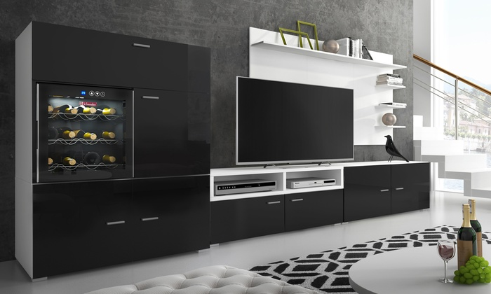 Denis Living Room System with Integrated Wine Fridge