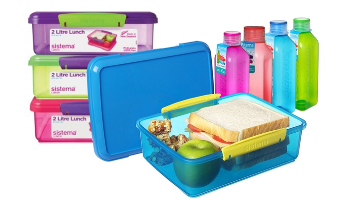 Sistema Two Litre Outdoor Lunch Box And One Square Bottle Set