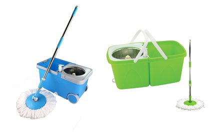 $29 for a Green Stainless Steel Cyclone Mop and Split Bucket Set or $32 for a Blue Spin Clean Mop and Bucket Set