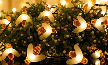 Honey Bee Solar 30-LED String Lights with Ground Stake (1- or 2-Pack)