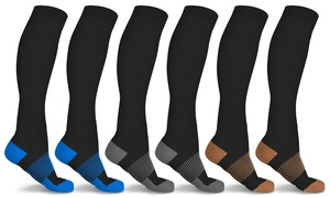 xFit Solid Copper-Infused Knee-High Compression Socks (6 Pairs)