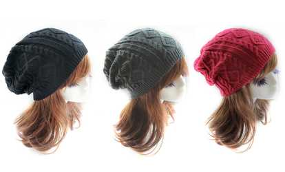 Shop Groupon Women s Knitted Wool-Cotton Slouch Hat af63eeeabcb9