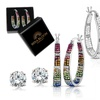 Inside Out Swarovski Crystal French Lock Hoops With 2.00 CTTW Stud