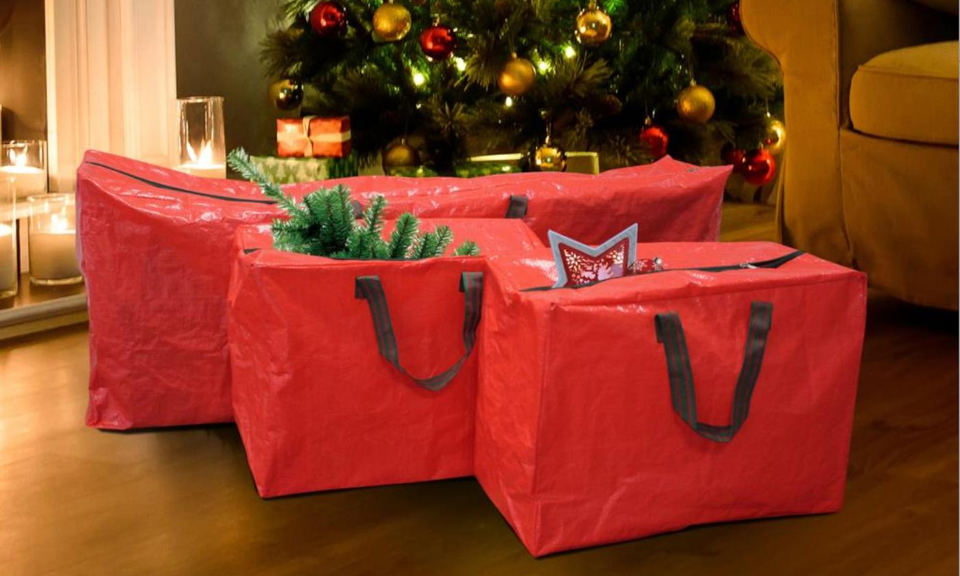 Three Christmas Tree, Decorations and Lights Storage Bags