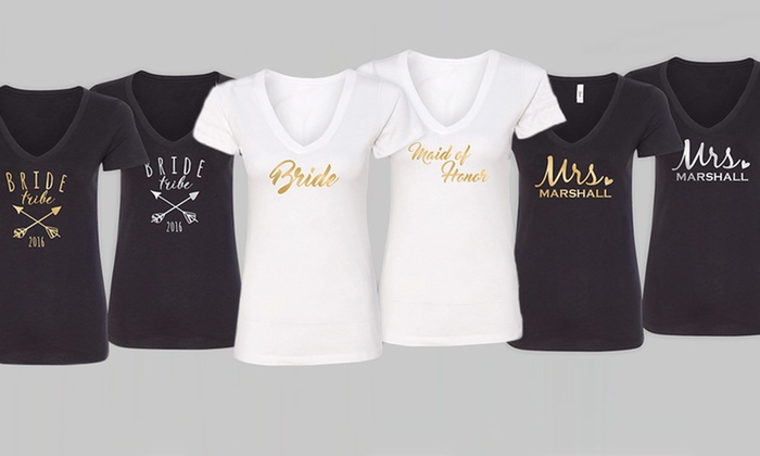 up to 54 off personalized women s wedding t shirts groupon