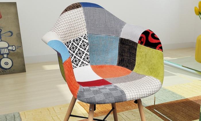 Chaise de salle manger en patchwork groupon for Chaise salle a manger groupon
