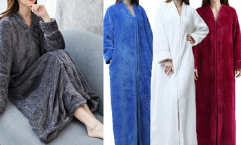 Plush Zip-Up Lounge Robe