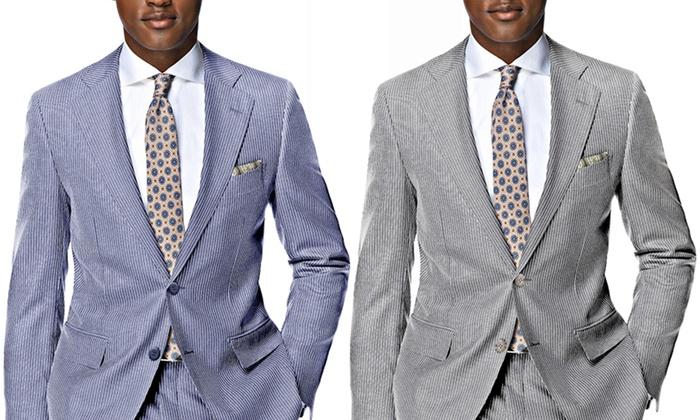 Verno Men's Classic Fit Chalk Stripe 100% Linen Suit (2-Piece)